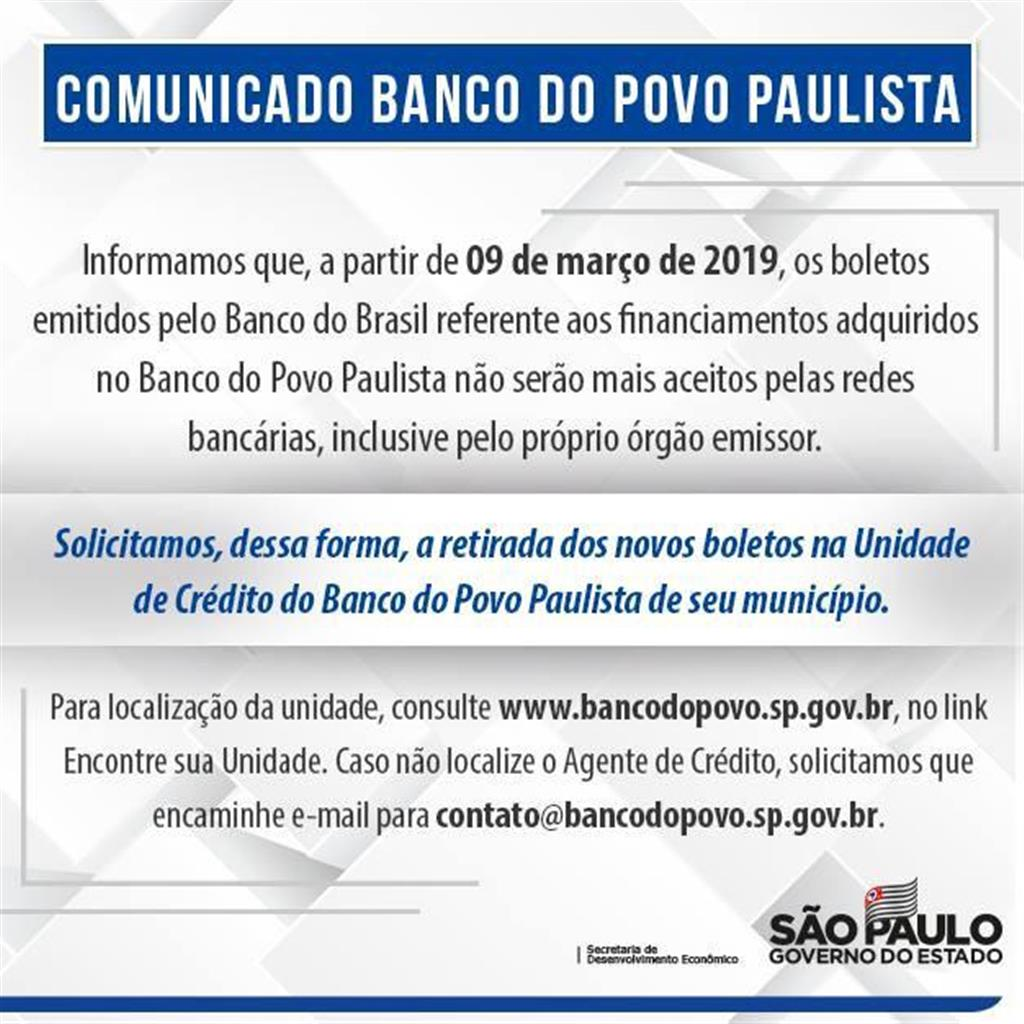 COMUNICADO DO BANCO DO POVO